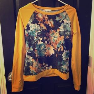 Fall floral sweatshirt - Mustard Yellow